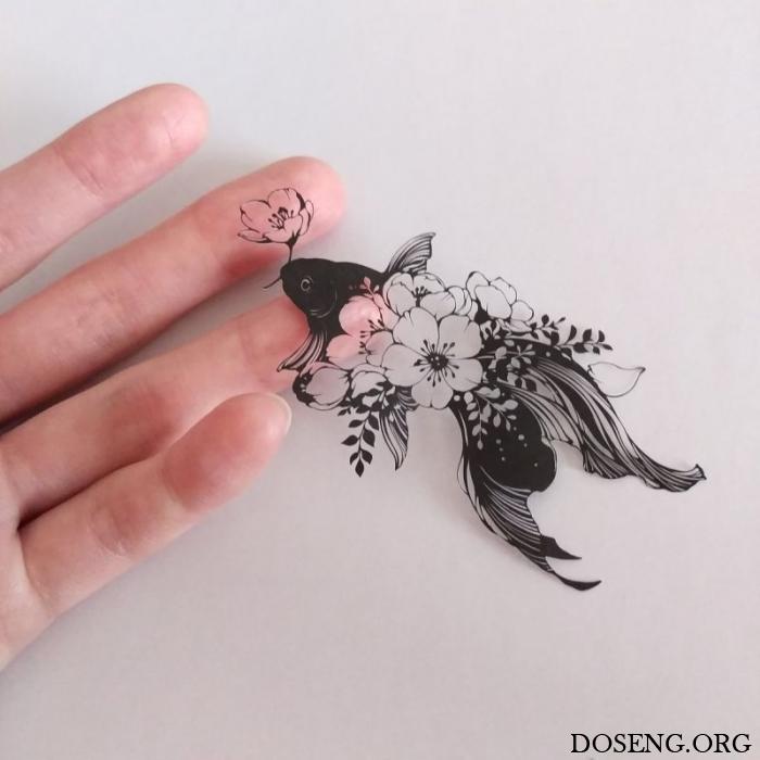 Вырезанные картины японской художницы