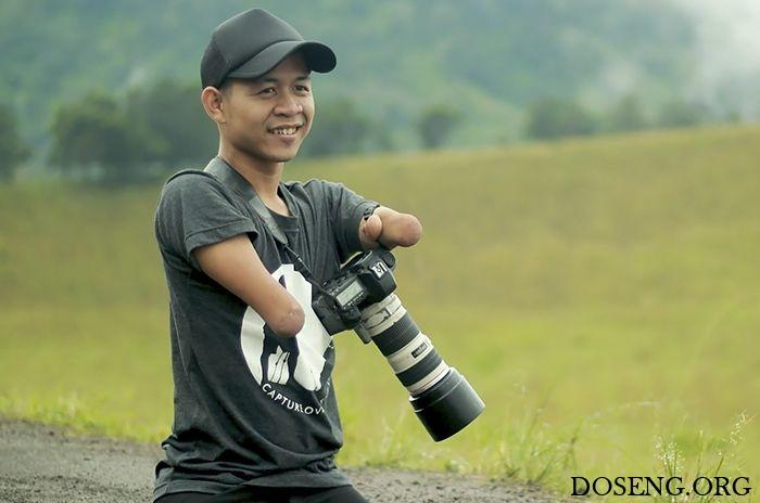 Фотограф безрук и ног делает замечательные снимки