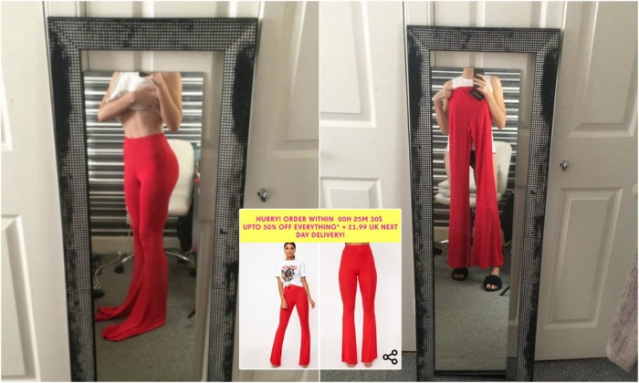 Девушка заказала брюки через интернет, но они были больше похожи на ласты