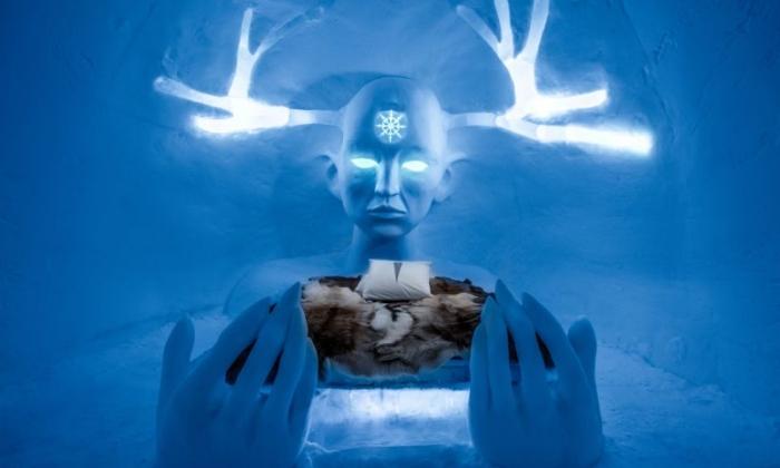 Волшебные скульптуры традиционного шведского ледяного отеля