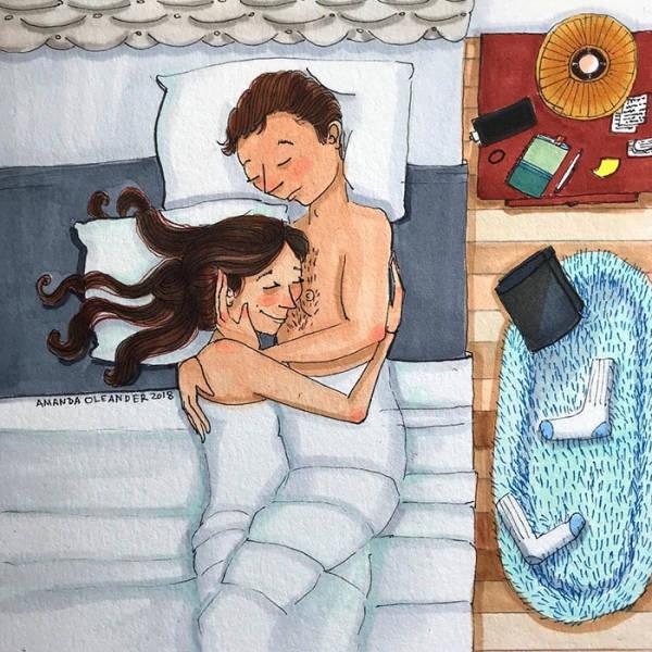 Отношения и супружеская жизнь в рисунках Аманды Олеандер