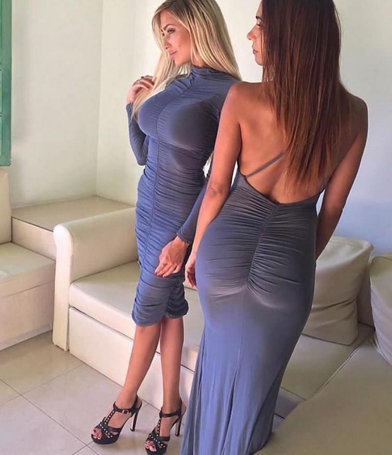 секс девушки в облегающем платье жёстко заставляют парня