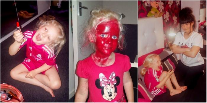 6-летняя девочка хотела выглядеть как яблоко и покрасила лицо помадой