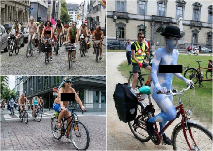 Голый велопробег в Брюсселе