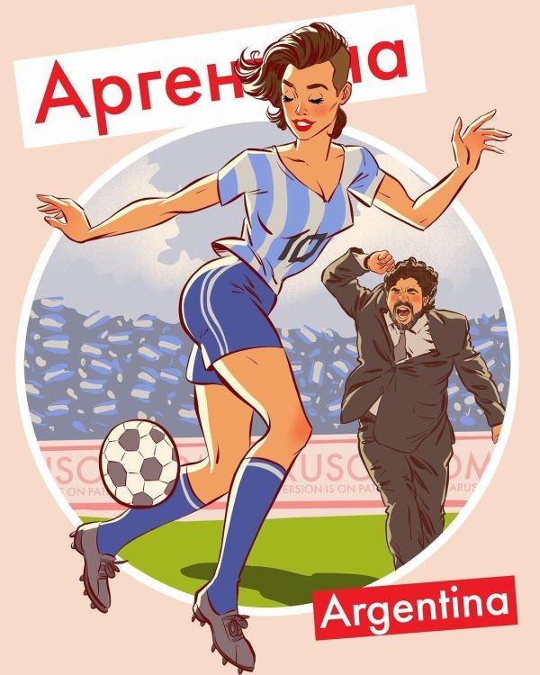Футбольный пинап от российского художника-иллюстратора