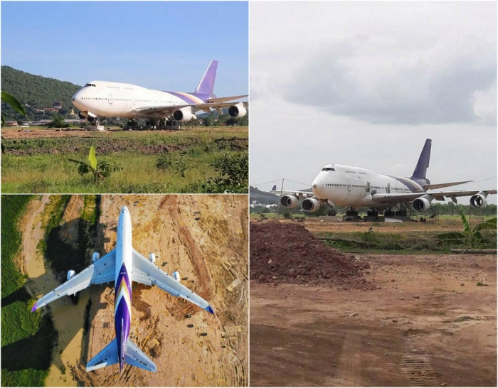 Тайские жители очень удивились, когда BOEING 747 появляется в одночасье в п ...