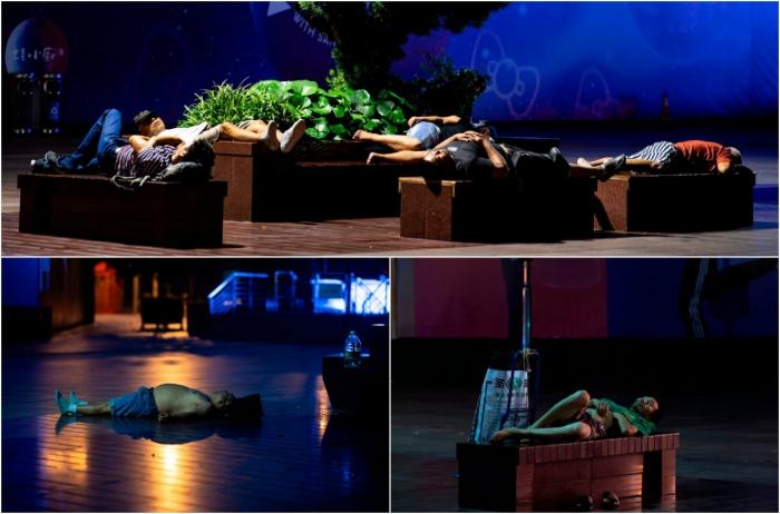 Спят уставшие шанхайцы, на скамейках спят