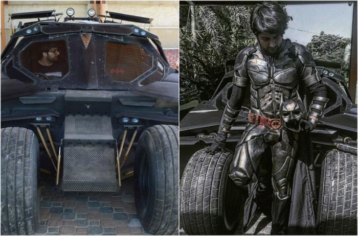 Поклонник Бэтмена собрал копию бэтмобиля из старых запчастей