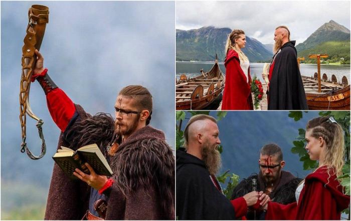 Норвежская пара сыграла свадьбу в стиле викингов