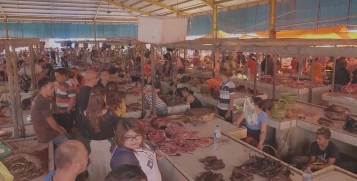 Индонезийский рынок, где продают мясо кошек и собак