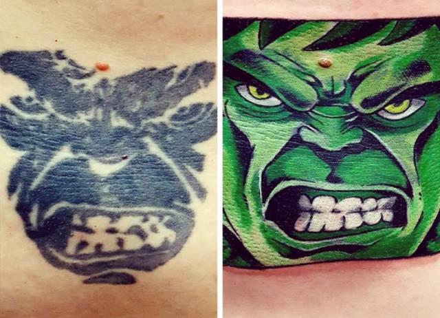 Татуировки в стиле до и после
