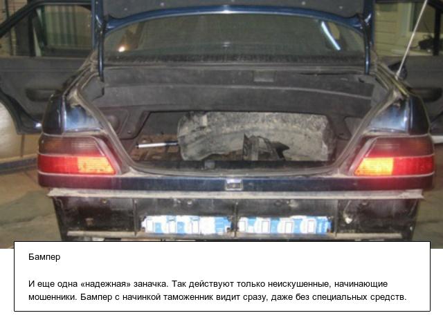 Тайники с контрабандой в автомобилях