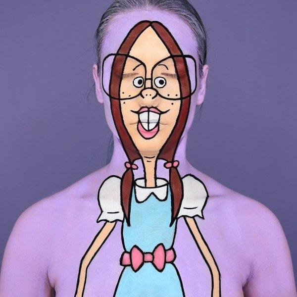 Рисунки персонажей из мультфильмов на теле