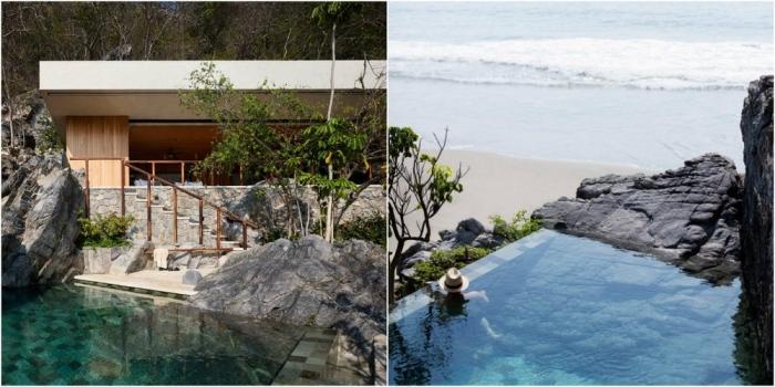 Дом с бассейном на скалистом берегу океана в Мексике