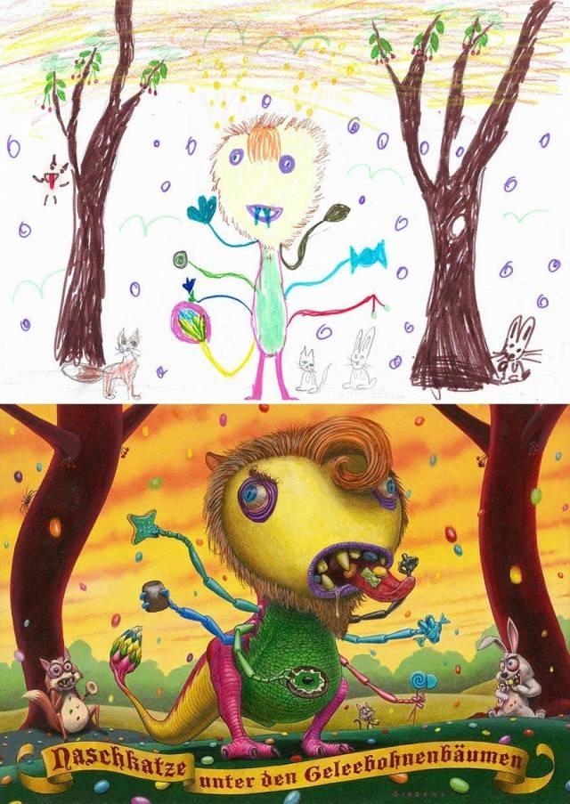 Когда детские рисунки перерисовывают профессиональные иллюстраторы