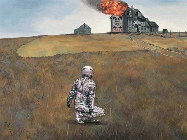 "Серия работ ""Одинокий астронавт"" от художника Скотта Листфилда"