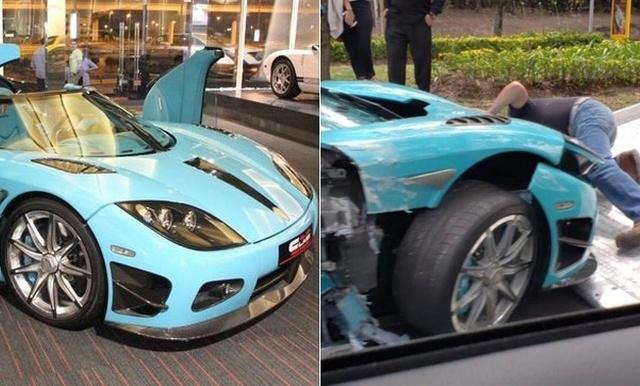 В Мексике разбили уникальный суперкар Koenigsegg CCXR бирюзового цвета