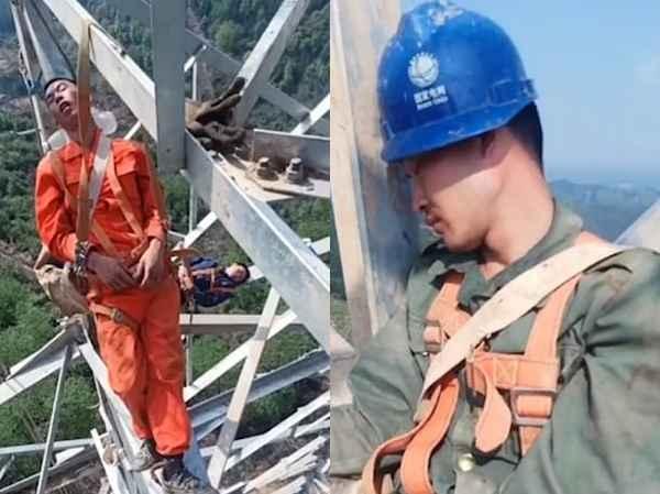 Китайские электрики дрыхнут на ЛЭП в 50 метрах над землей