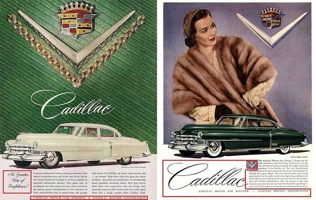 Шикарные женщины на рекламных постерах Cadillac начала 50-х годов