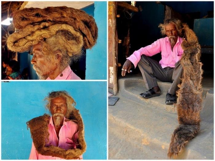 Индиец 40 лет не стрижет и не моет волосы