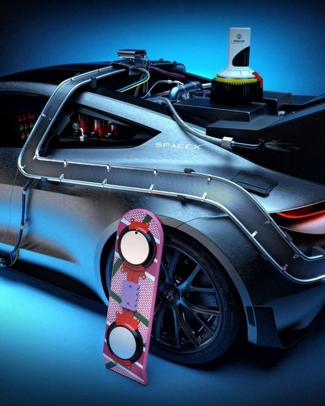 """Tesla Roadster вместо DeLorean из фильма """"Назад в будущее"""""""