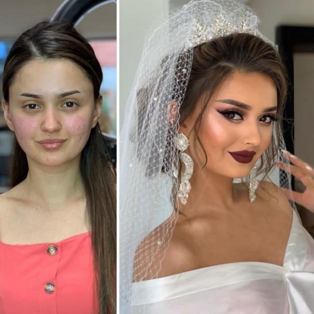 Невесты до и после профессионального макияжа