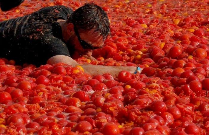 В Питере состоялась первая помидорная битва