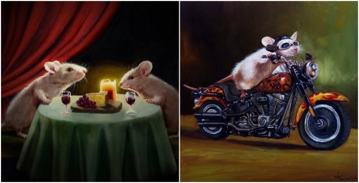 Художница изображает мышей в человеческих ситуациях