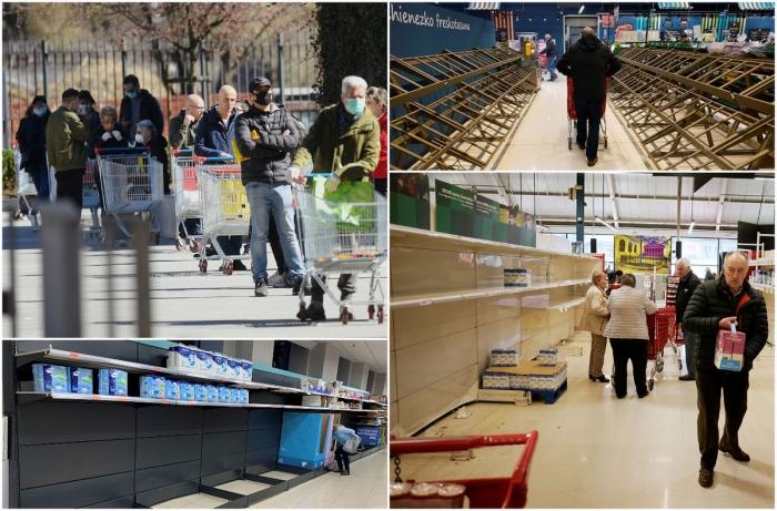 Паника из-за коронавируса: пустые полки европейских магазинов