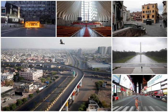 Опустевшие из-за коронавируса общественные места в разных городах мира