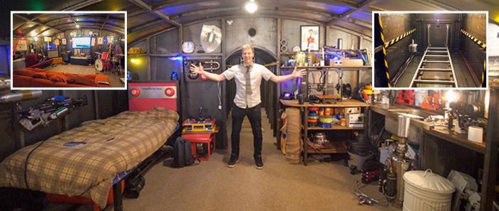 Британец потратил 5 лет на строительство бункера с телевизором и барабанной установкой