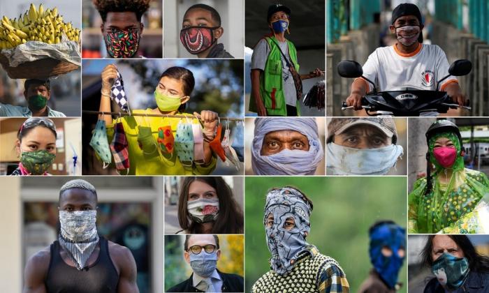Люди в масках на улицах разных городов мира