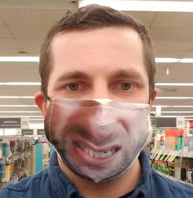Забавные фейлы с масками, имитирующими лицо