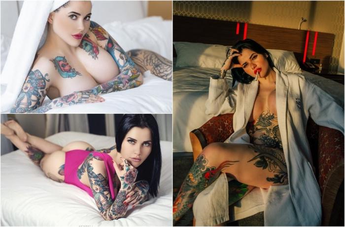 Покрытая татуировками девушка разбогатела, фотографируя свои ноги