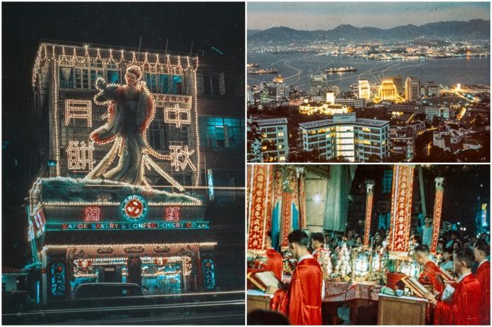 Цветные снимки ночного Гонконга в 1960-е годы