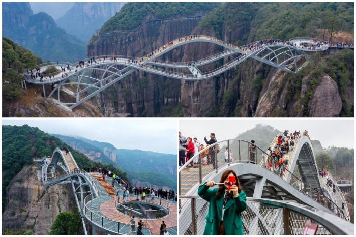 В Китае открылся 100-метровый изгибающийся стеклянный мост